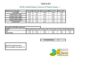 Tarifs RPI-Auxois