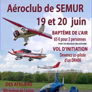Journée portes ouvertes à l'aéroclub de Semur-en-Auxois les 19 et 20 Juin 2021